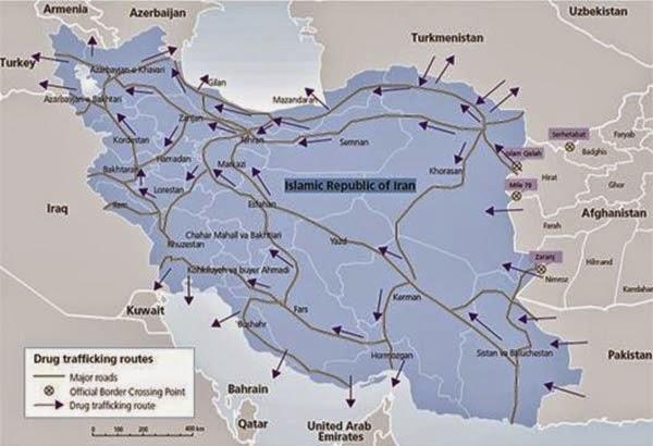 مسیر قاچاق مواد مخدر در ایران